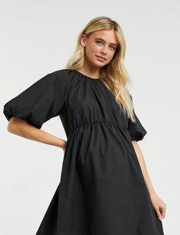 ASOS DESIGN Maternity - Aangerimpelde mini-jurk van katoenen poplin in zwart