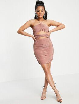 Mini-jurk met halternek, uitsnijdingen en rimpeleffect in roze