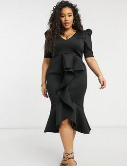Diepuitgesneden midi jurk met gepofte schouders en ruches aan de voorkant in zwart