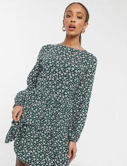 Aangerimpelde jurk met lange mouwen in vintage bloemenprint-Groen