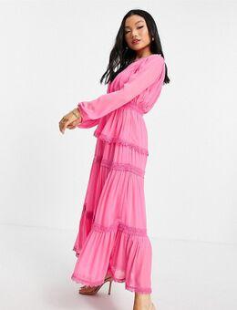 Geplooide maxi jurk met stroken in felroze