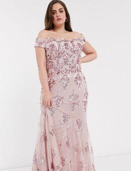 Jurk met blote schouders en lovertjes in roze