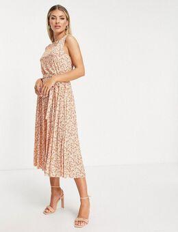 Mouwloze midi jurk met geplooide zoom in oranje met fijne bloemenprint