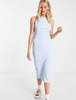 Midi-jurk van organisch katoen met racer hals in blauw