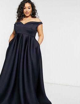 True Violet - Black Label Plus - Lange bardot-avondjurk met zakken in marineblauw