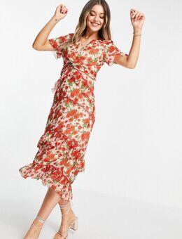 Made with Liberty Fabric - Midi-jurk met stroken en ruches in klaprozenprint-Rood