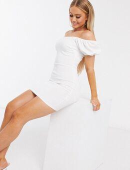Mini-jurk met volumineuze mouwen in wit