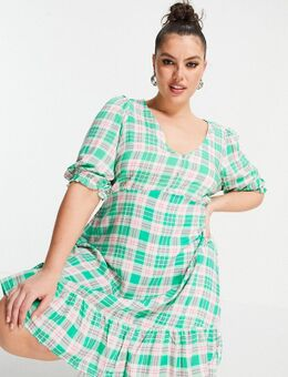 New Look Curve - Geruite midi jurk met V-hals, knoopjes en 3/4 mouwen in groen
