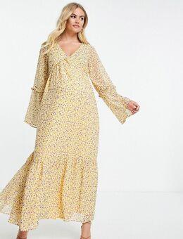 X Brooke Vincent - Maxi jurk met volumineuze mouwen en gele bloemenprint-Geel