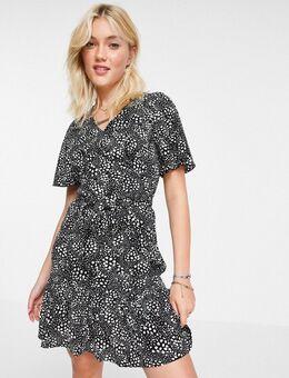 Mini-jurk met uitlopende mouwen in stippenprint-Veelkleurig