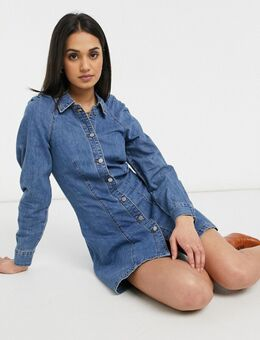 Denim jurk in vintage wassing met geplooide schouders-Blauw