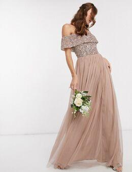 Tule maxi-jurk voor bruidsmeisjes met bardot-hals en delicate lovertjes in dezelfde kleurschakering in taupe-Bruin