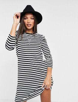 Mini T-shirtjurk met pofmouwen en zwarte strepen