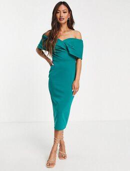 Schouderloze bodycon midi-jurk in smaragdgroen