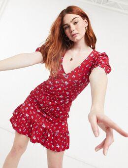 Nette mini-jurk met knopen in bessenrood met bloemenprint-Paars