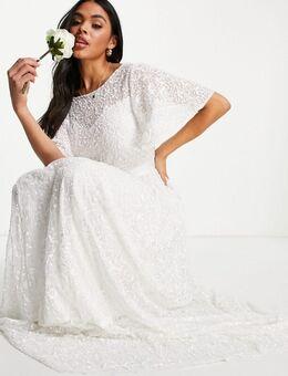 Bruidsmeisjes - Lange jurk bedekt met lovertjes en mouwen in ivoor-Wit