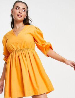 Exclusives - Jurk met pofmouwen in oranje