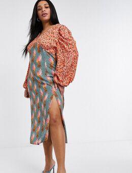 Midi jurk met split in stippenprint en luipaardprint-Verschillende kleuren