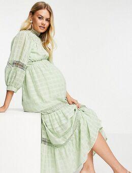ASOS DESIGN Maternity - Hoogsluitende midi jurk met kanten inzetstukken en rasterstructuur in saliegroen