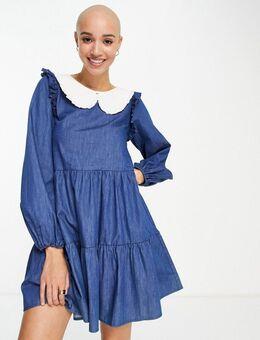 Denim mini-jurk met wit kraagje in blauw