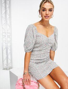 Cilantro - Gerimpelde mini jurk in multi-Meerkleurig