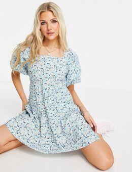 Mini jurk met pofmouwen in fijne bloemenprint-Blauw