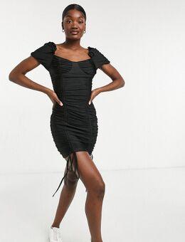 Gerimpelde bodycon mini-jurk in zwart