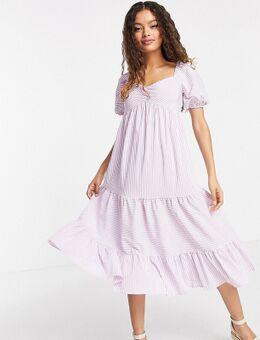Urban Threads - Petite - Gestreepte midi jurk met stroken in lila-Paars