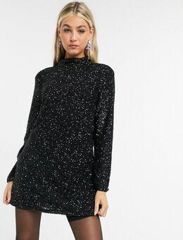 Farah - Mini-jurk met lovertjes in zwart