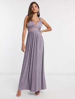 Premium lange jurk met gedraaide bandjes en kanten inzetstuk in aubergine-Rood