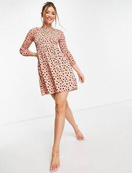 Aangerimpelde mini-jurk met fijne bloemenprint-Oranje