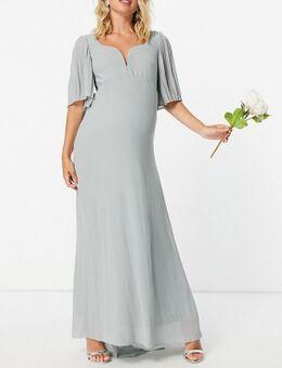 Bruidsmeisjes - Maxi jurk met hartvormige halslijn en fladdermouwen in saliegroen