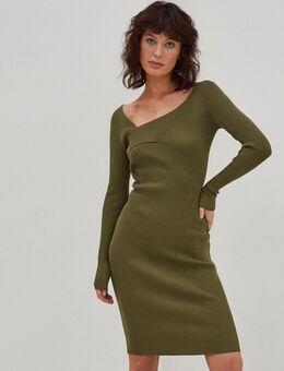 Gebreide trui-jurk met gekruiste voorkant in kaki-Groen