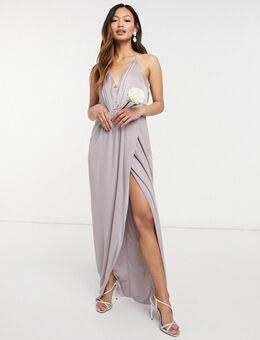 Bruidsmeisjes - Lange jurk van satijn met halternek in grijs