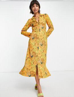 Jaren 70 midi jurk van gerecycled polyester met knopen en bloemen in warm geel