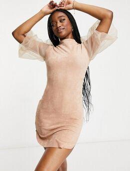 Hoogsluitende mini jurk van imitatiesuède in kiezelkleur-Neutraal
