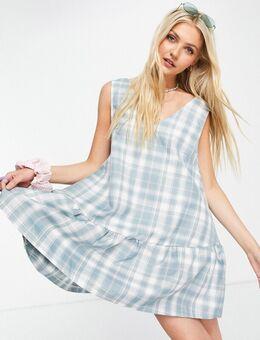 Mouwloze aangerimpelde mini-jurk in vintage ruit-Blauw