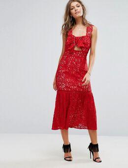 Kanten midi-jurk met strik voor-Rood