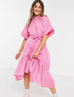 Midi-jurk met strikdetail in roze jacquard
