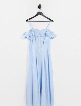 Lange jurk met knopen in blauw