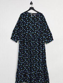 Gesmokte midi jurk met bloemenprint van vergeet-mij-nietjes-Zwart