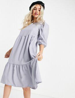 Aangerimpelde midi-jurk met stroken in lila-Paars