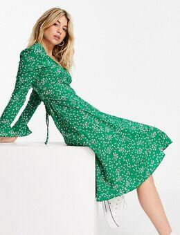 Nette midi jurk met fijne bloemenprint-Groen