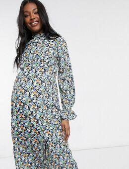 Midi jurk met lange mouwen en bloemenprint-Verschillende kleuren