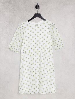 Buttercup - Mini jurk met pofmouwen in wit