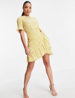 Mini jurk met ruches in gele stippenprint-Geel
