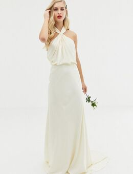 Lange trouwjurk met halternek en gedrapeerd effect-Wit