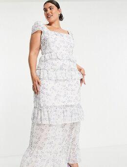 Lange jurk met ruches in wit