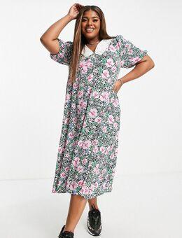 Nette midi-jurk met split voor en vintage kraagje in felle bloemenprint-Roze