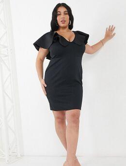 Mini-jurk met diep uitgesneden voorkant en overdreven ruches in zwart